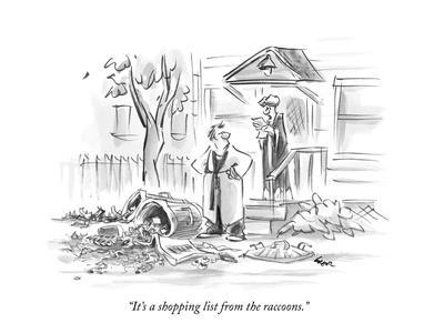 """""""It's a shopping list from the raccoons."""" - New Yorker Cartoon"""