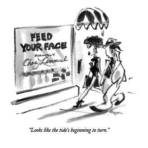 """Looks like the tide's beginning to turn."" - New Yorker Cartoon by Lee Lorenz"