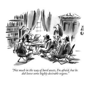 """Not much in the way of hard assets, I'm afraid, but he did leave some hig?"" - New Yorker Cartoon by Lee Lorenz"
