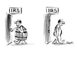 Title on both doors: IRS - New Yorker Cartoon by Lee Lorenz