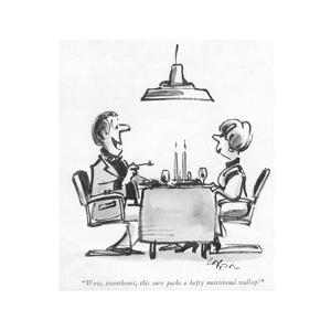 """""""Wow, sweetheart, this sure packs a hefty nutritional wallop!"""" - New Yorker Cartoon by Lee Lorenz"""