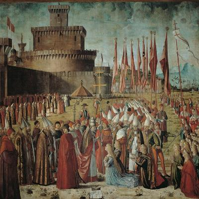 Legend of St Ursula. the Pilgrims Meet the Pope Under the Walls of Rome-Vittore Carpaccio-Giclee Print