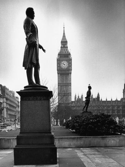 Legendary Clock Tower Big Ben Framed by Statues of Lord Palmerston and Jan Smuts-Alfred Eisenstaedt-Photographic Print