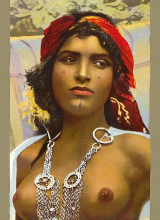 Moroccan Handmaid - Classic Vintage Hand-Colored Nude - Exotic Near East Erotica Art