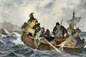 Leif Erikssen Off the Coast of Vineland in a Viking Landing Boat
