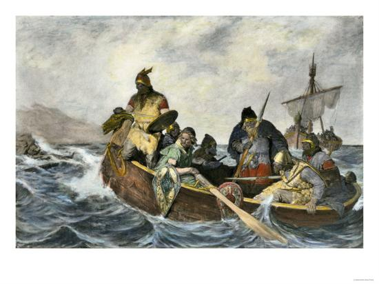 Leif Erikssen Off the Coast of Vineland in a Viking Landing Boat--Giclee Print