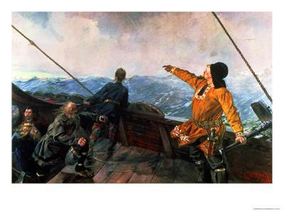 Leif Eriksson (10th Century) Sights Land in America, 1893-Christian Krohg-Giclee Print