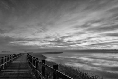 The long wooden footbridge. Dark version.