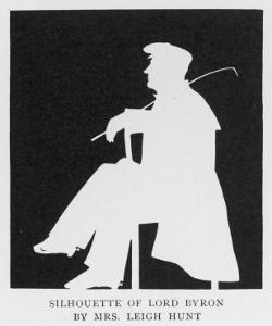 George Gordon Lord Byron a Silhouette of the English Romantic Poet in Profile Sitting on a Chair by Leigh Hunt