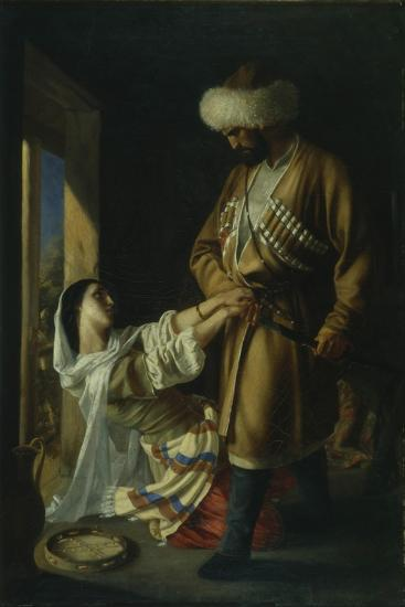 Leila and Khadji Abrek (After the Poem by M. Lermonto), 1852-Nikolai Nikolayevich Ge-Giclee Print