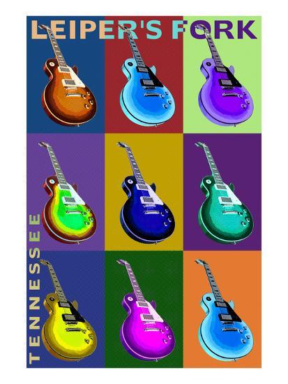 Leiper's Fork, Tennessee - Guitar Pop Art-Lantern Press-Art Print