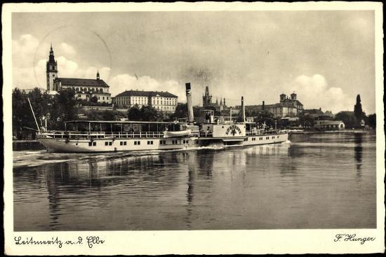 Leitmeritz Elbe Region Aussig, Dampfer Lössnitz, Ort--Giclee Print