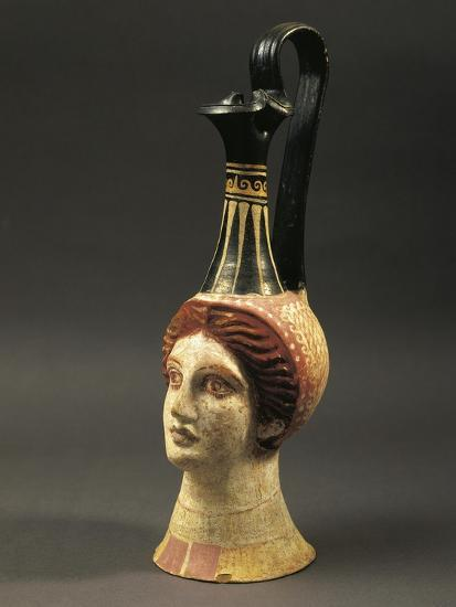 Lekythos Showing Woman's Head, Painted Terracotta from Hypogeum--Giclee Print