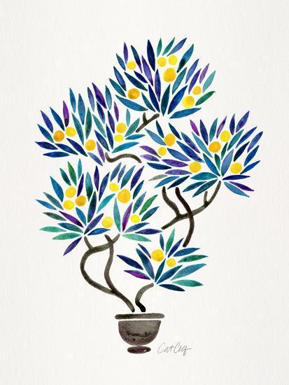 Lemon Bonsai Orange-Cat Coquillette-Giclee Print