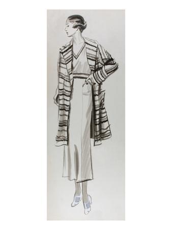 Vogue - June 1934 - Woman in Striped Coat