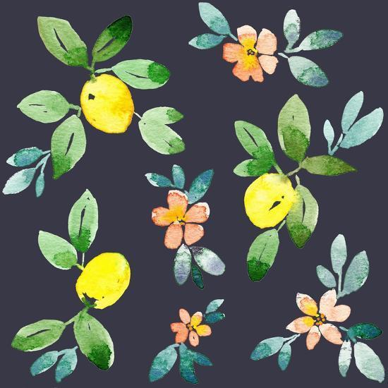 Lemons - Navy-Elise Engh-Art Print