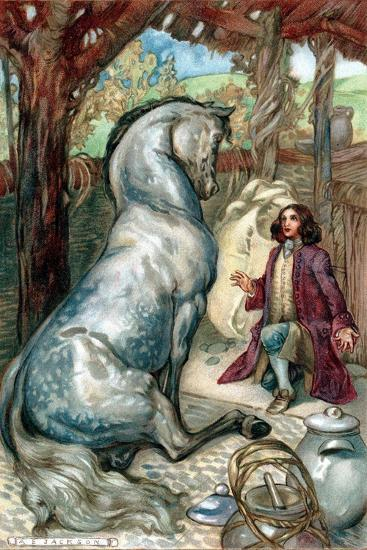 Lemuel Gulliver, Set Ashore after a Mutiny, Finds Himself in Kingdom of the Houyhnhns--Giclee Print