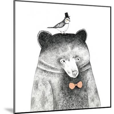 Bear with a Bird on His Head - Pencil Drawing by lenaer