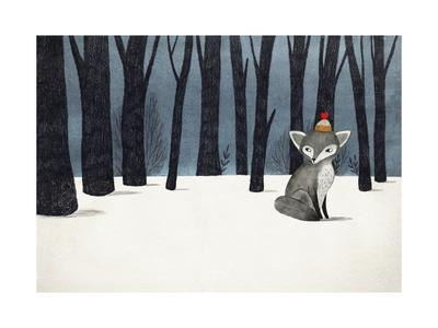 Gray Wolf (Fox) in a Winter Forest - Pencil and Watercolor Drawing