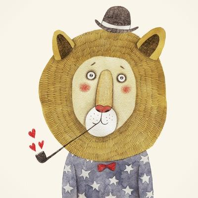Lion in Hat and with a Pipe Drawing. Children's Illustration