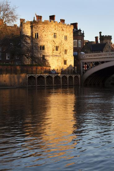 Lendal Tower and the River Ouse at Sunset, York, Yorkshire, England, United Kingdom, Europe-Mark Sunderland-Photographic Print