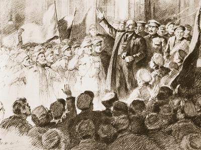 Lenin's Arrival in Petrograd, April 1917--Giclee Print