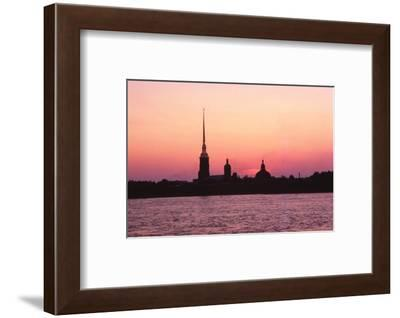 Leningrad USSR - Peter + Paul Forteess and River Neva at Sunset-CM Dixon-Framed Photographic Print