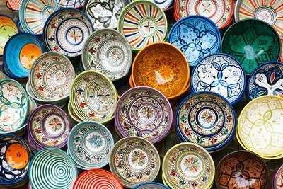 Moroccan Souk Crafts Souvenirs in Medina, Essaouira, Morocco