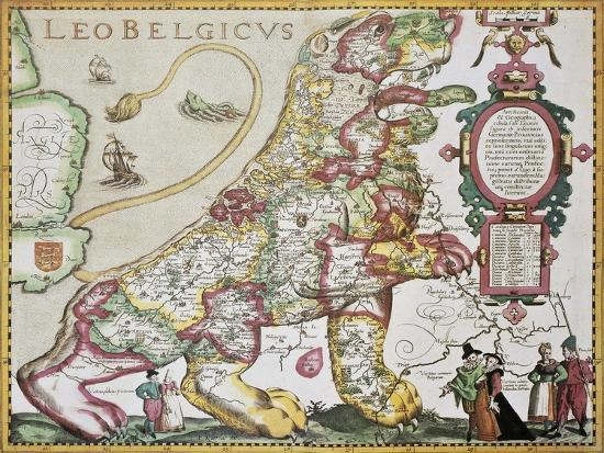 Leo Belgicus: Belgium And Netherlands Old Map In The Form Of A Lion-marzolino-Art Print