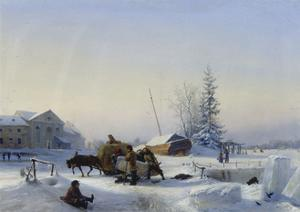 Sledge on Ice (Winter in a Former Wine Village), 1849 by Leo Lagorio