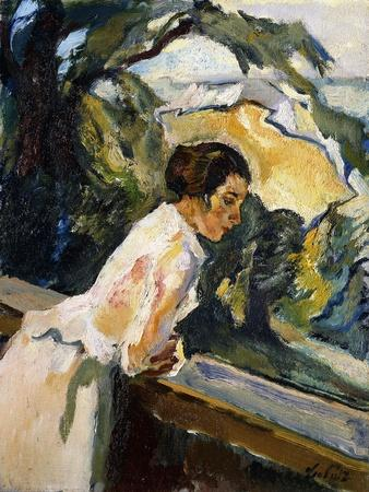 Frieda, the Artist's Wife, Leaning over the Balcony