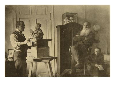 Leo Tolstoy and the Sculptor Prince Paolo Troubetzkoy-Sophia Andreevna Tolstaya-Giclee Print
