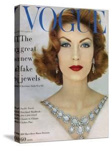 Vogue Cover - November 1957 - Blue Jewels by Leombruno-Bodi