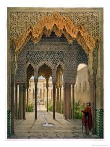 The Court of the Lions, the Alhambra, Granada, 1853 by Leon Auguste Asselineau