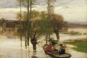 A Flood, 1876 by Léon Augustin L'hermitte