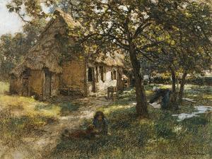 Chaumiere, Normande, 1900 by Léon Augustin L'hermitte