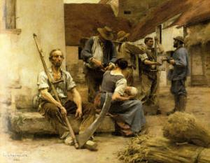 La Paye des Moissonneurs, c.1882 by Léon Augustin L'hermitte