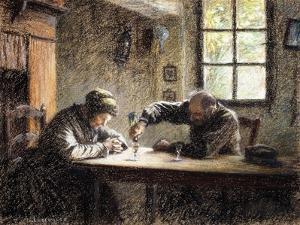 Man and Woman Drinking Eau De Vie by Léon Augustin L'hermitte