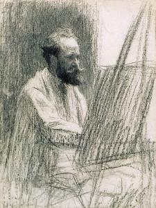 Portrait of Edouard Manet (1832-83) at His Easel by Léon Augustin L'hermitte