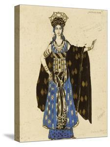 A Costume Design for 'Salome': Herodiade, (Pencil and Gouache, Heightened with Gold) by Leon Bakst