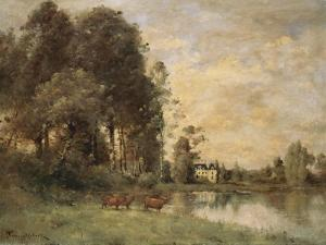 Cattle Watering by a Lake with a Chateau Beyond by Leon Bakst
