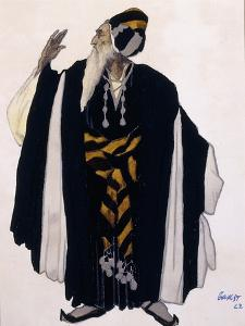 Costume Design for a Jewish Elder for the Drama 'Judith', 1922 (Pencil, W/C and Gouache on Paper) by Leon Bakst