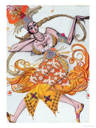 Costume Design for a Pas De Deux Danced at the Opening Gala of the Diaghilev Ballet in 1909