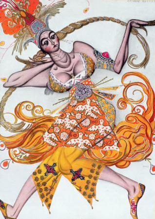 Costume Design for a Pas De Deux Danced at the Opening Gala of the Diaghilev Ballet in 1909 by Leon Bakst