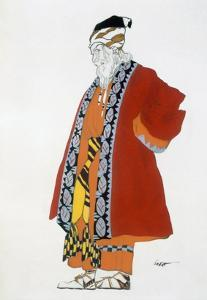 Costume Design for an Old Man in a Red Coat (Colour Litho) by Leon Bakst