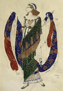 Costume Design for Cleopatra - a Dancer by Leon Bakst