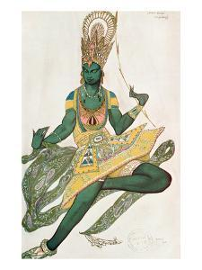 Costume Design for Nijinsky (1889-1950) for His Role as the 'Blue God', 1911 (W/C on Paper) by Leon Bakst