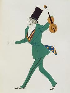 Costume Design for Paganini in 'The Enchanted Night' by Gabriele d'Annunzio by Leon Bakst