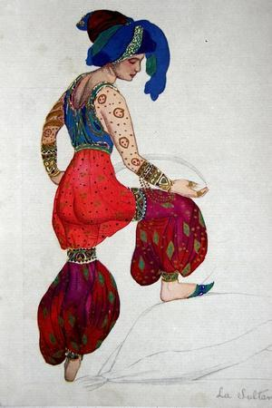 Costume Design for the Blue Sultan in 'Scheherazade', C.1910