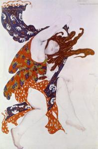 Costume Design For the Premiere Bacchante in the Ballet Narcisse by Leon Bakst